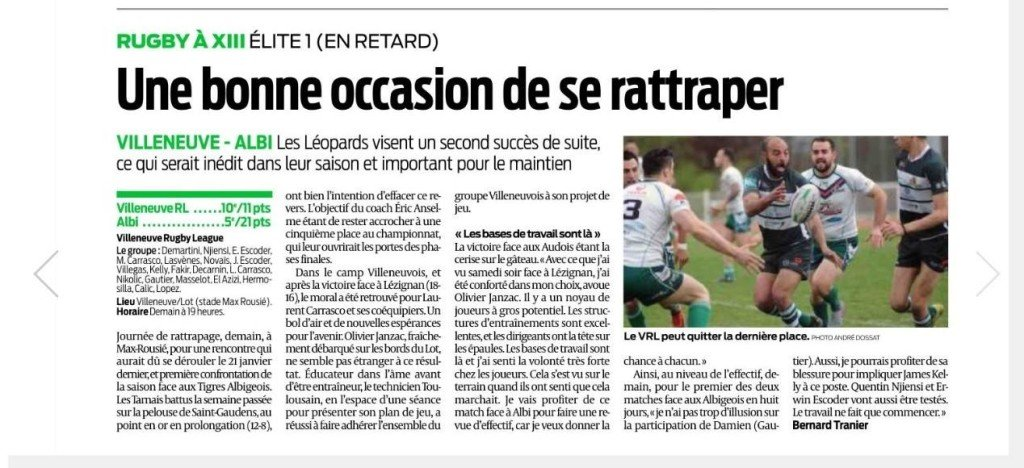 rugby article tranier